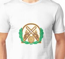 Crossed Chainsaw Timber Wood Leaf Unisex T-Shirt