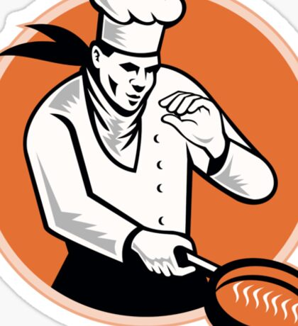 Chef Cook Cooking Pan Circle Sticker