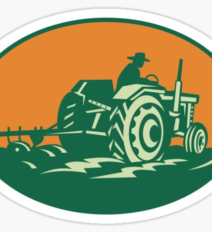 Farmer Worker Driving Farm Tractor Sticker