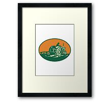 Farmer Worker Driving Farm Tractor Framed Print