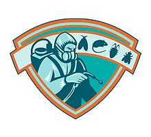 Pest Control Exterminator Worker Shield by patrimonio