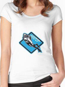 Scuba Diver Diving Retro Women's Fitted Scoop T-Shirt