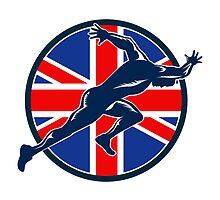 Runner Sprinter Start British Flag Circle by patrimonio