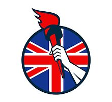 Hand Holding Flaming Torch British Flag by patrimonio