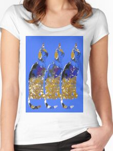 Blue Gold and Brown Cats Women's Fitted Scoop T-Shirt