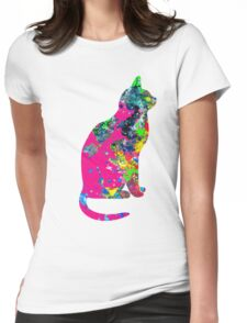 Ink Spots Cat Womens Fitted T-Shirt