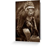 The Chimpanzee *Traditional Art in Sepia Watercolor* Greeting Card