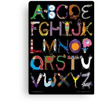 Children's Alphabet (black background) Canvas Print