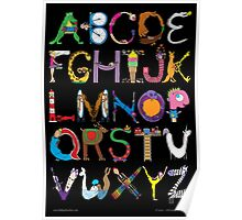 Children's Alphabet (black background) Poster