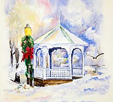 Christmas Gazebo Snow Scene by Jim Parker
