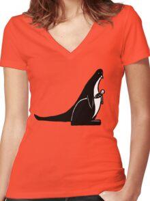 Kangaroonguin Women's Fitted V-Neck T-Shirt
