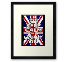 Keep Calm, & Carry On, Union Jack, Flag, Blighty, UK, GB, Be British! Framed Print