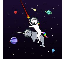 Unicorn Riding Narwhal In Space Photographic Print