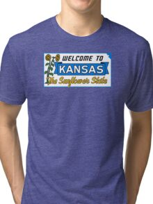 Welcome to Kansas Sign Vintage 50s Tri-blend T-Shirt