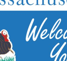 Massachusetts Welcomes You, Road Sign, USA Sticker