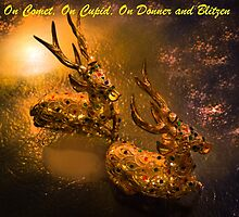 Christmas Card - On Cupid, On Comet, On Donner And Blitzen by Al Bourassa