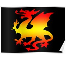 Hot Fire Dragon Design Poster
