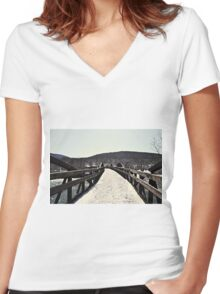Snow Covered Bridge Women's Fitted V-Neck T-Shirt