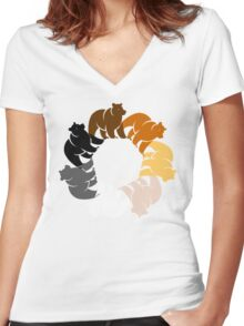 BEAR CIRCLE Women's Fitted V-Neck T-Shirt