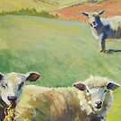 Sheep in the Spring Sunshine with Rolling Hills by MikeJory