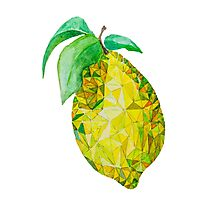Low Poly Watercolor Lemon Photographic Print