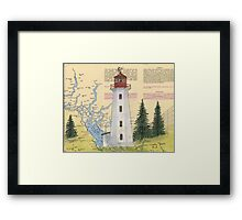Cape Mudge Lighthouse BC Canada Nautical Map Cathy Peek Framed Print