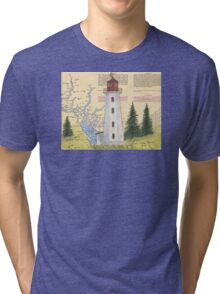 Cape Mudge Lighthouse BC Canada Nautical Map Cathy Peek Tri-blend T-Shirt
