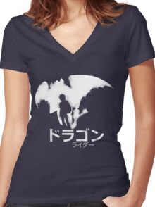Dragon Rider Women's Fitted V-Neck T-Shirt
