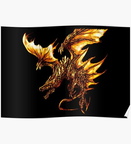 Fiery Molten Burning Dragon Design Poster