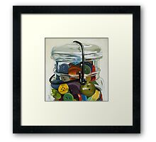 Old Button Jar - still life oil painting Framed Print