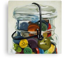 Old Button Jar - still life oil painting Canvas Print