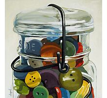Old Button Jar - still life oil painting Photographic Print