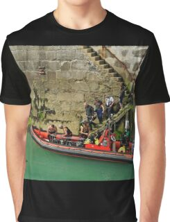 Boarding The Dive Boat, Newquay Harbour Graphic T-Shirt