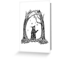 Black Bear in Falling Leaves Autumn Fall Nursery Children's Art Greeting Card