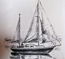 A Pencil Drawing of My Yacht - S/Y Magali by Dennis Melling