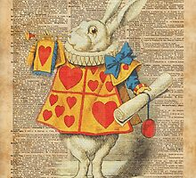 White Rabbit with Trumpet Alice in Wonderland Vintage Dictionary Artwork by DictionaryArt
