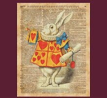 White Rabbit with Trumpet Alice in Wonderland Vintage Dictionary Artwork T-Shirt