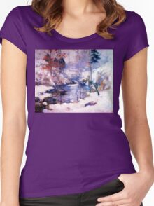 Snow in the forest Women's Fitted Scoop T-Shirt