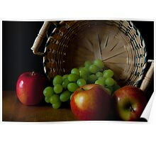 Green Grapes And Apples Poster
