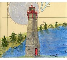 Gibraltar Pt Lighthouse Ontario Map Art Cathy Peek Photographic Print