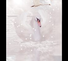 Fantasy Swan iPhone Case Dusky Pink by Moonlake