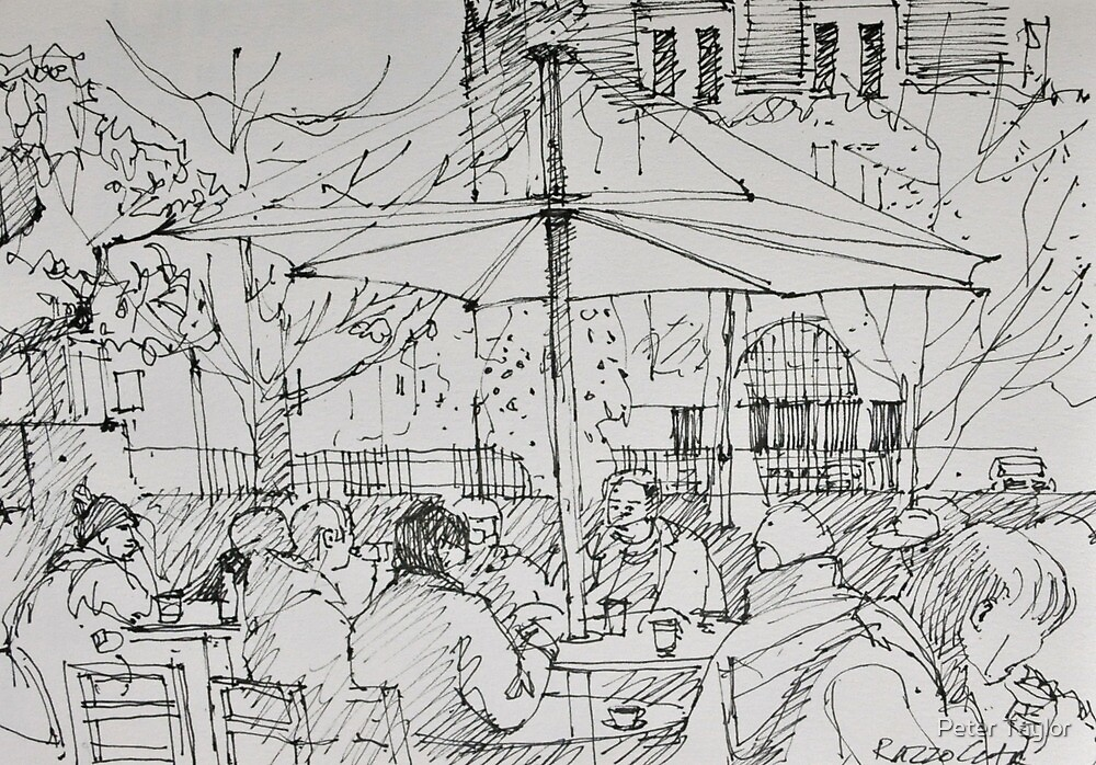 Cafe scene by Peter Lusby Taylor
