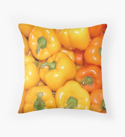 Yellow & Orange Peppers Throw Pillow
