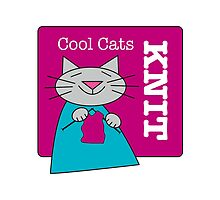Cool Cats Knit Pink by Sue Cervenka