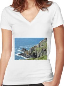 Botallack Crown Engine Houses Cornwall Women's Fitted V-Neck T-Shirt