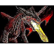 Toothless Fire Breathing Night Fury Fractal Dragon Design Photographic Print
