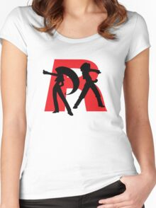 Team Rocket Line art Women's Fitted Scoop T-Shirt