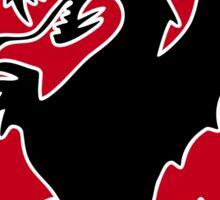 Round Black Dragon Design On Red Background Sticker