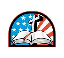Bible With Cross American Stars Stripes by patrimonio