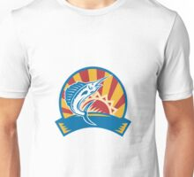 Sailfish Jumping Sunburst Woodcut Retro Unisex T-Shirt